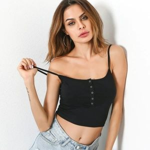 Button Front Crop Cami Top NEW